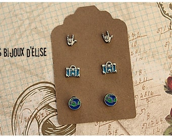 3 Pairs of Long DIstance Relationship Post Earrings Stud Earrings sets I Love You, Luggage, Map