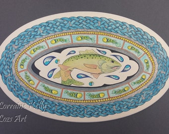 Print of Salmon of Knowledge Mandala Celtic Knot Painting Art Fish to 75cm
