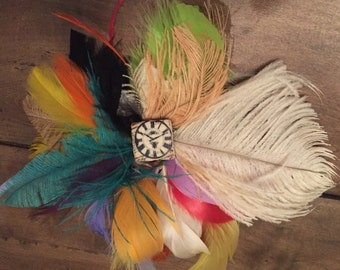 multi color feather fascinator hair clip