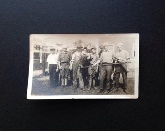 Vintage Photo Snapshot Vernacular Photo Farmers Farm Workwear Cow Vintage Denim Vintage Overalls