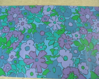 Flower power blue wallpaper by the yard / purple, blue and green / mod wallpaper