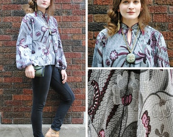 Purple and Grey Floral Keyhole Blouse