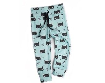 Organic baby batman joggers | baby boy bat mask leggings | unisex batman leggings | superhero leggings