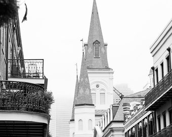 New Orleans photography, french quarter black and white, black and white photography, saint louis cathedral, french quarter photography