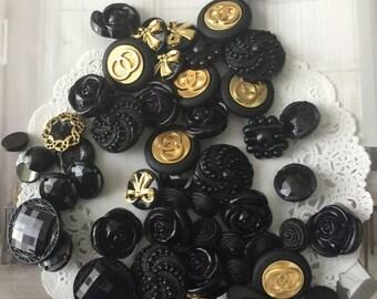 BULK 50  black buttons / gold and black,shank buttons, acrylic buttons, 2 holes buttons, mix blag gold buttons
