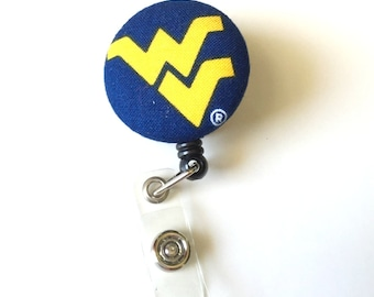 Cute Retractable ID BADGE Reel Holder, Lanyard made with West Virginia Fabric