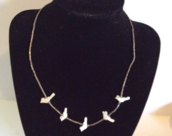 Silver tone beaded necklace 16 in