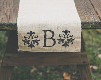 Monogram letter runner, scroll accent runner,Burlap Table Runner, Table Runner home decor