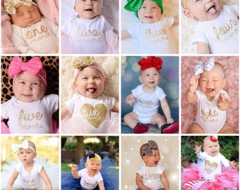 13 DIY Monthly Photo Sparkly Glitter Script Heart Baby Girl Iron On Sparkle Decals - Any Color Gold Pink Sliver