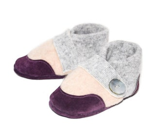 Baby Shoes, Cashmere Toddler Slippers, Soft Leather Bottoms, Eco- Friendly and Handmade in the USA.Sizes:0-12M, 6-18M & 12-24M