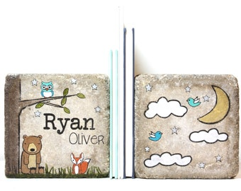 Rustic Child Bookends or Nursery Decor. Woodland/ Kid Concrete Bookends. PERSONALIZED Bookends for Girl or Boy. Name Bookends. Door Stops