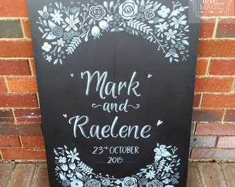 Floral welcome wedding chalkboard sign.