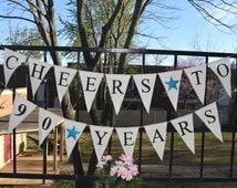 Custom Burlap Banner Happy Birthday 40 Birthday Banner 10th, 20th,30th,50th Bunting Garlands