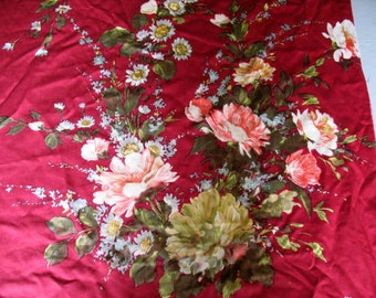 Piece of vintage French printed cotton sateen floral
