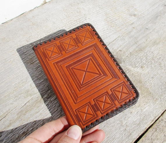 Leather Book Cover Pattern : Leather notebook cover genuine geometric pattern
