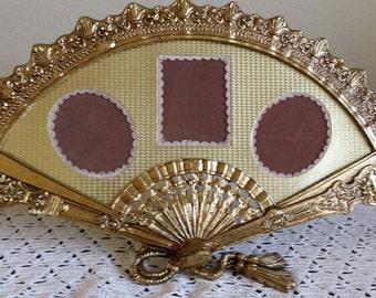 Fan Shaped Picture Frame Brass Ornate Hollywood Regency