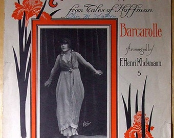 Original Large Format 1914 Antique Sheet Music - The Dream Waltz - from Tales of Hoffman