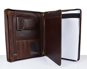 A4 size - Dark Brown Leather Portfolio - Document Folder - Leather iPad Case - Leather Organizer - Notepad Cover - valentine gift