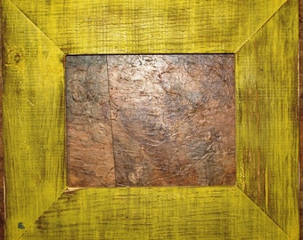 """F002 3-1/2"""" Yellow Distressed Picture Frame"""
