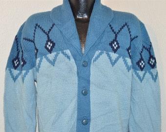 70s Chunky Blue Vintage Shawl Neck Cardigan Sweater Medium