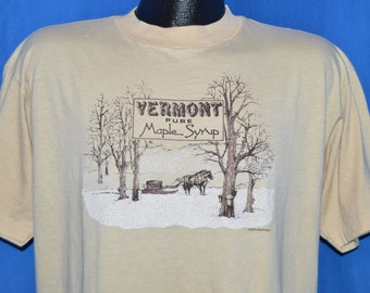 80s Vermont Maple Syrup Tan t-shirt Large
