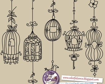 Bird cage clipart rustic, wedding digital cages clipart, shabby chic cages, vintage bird cages,ornate flourish cages, birds whimsical cages