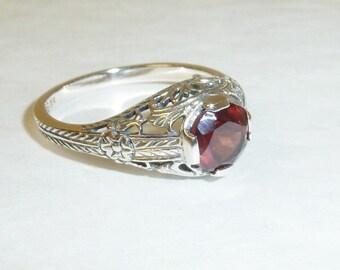 Garnet Sterling Silver Filigree Ring Art Deco Victorian Style Engagement January Birthstone Solid 925 Sterling Genuine Gemstone Size 6.75
