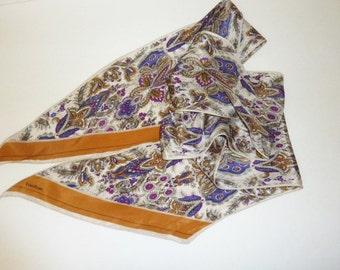 Vintage EVAN PICONE Silk Scarf Long Narrow White Purple Caramel Paisley Designer Signed 100 Percent Silk Womens Neck Bow Tie