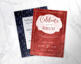 CELEBRATE   |  watercolor with doodles dinner or party invitation