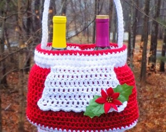 Mrs. Claus Gift Basket - PDF crochet pattern ONLY - Christmas, Tote, Wine, Holiday Party, Gift, Hostess, Hot Cocoa, Christmas Eve, Santa