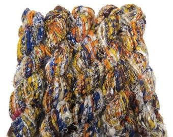 SALE Premium Recycled Sari Silk Yarn,  Navy/yellow/white