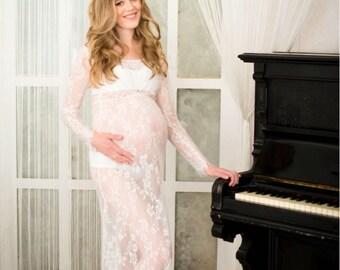 Size M-XXXL, Sheer V Plunging Neckline, Empire Waist, Boudoir Lace Dress, Pregnancy Photo Shoot, Lingerie Prop Dress