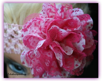 Pink crochet baby headband with pink flower