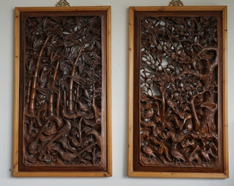 Two Intricately Carved Panels Of Bamboo and Of Plum Blossoms