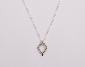 Silver Plated Necklace Disc Silver Square Box Silver Necklace Diamond Rhombus
