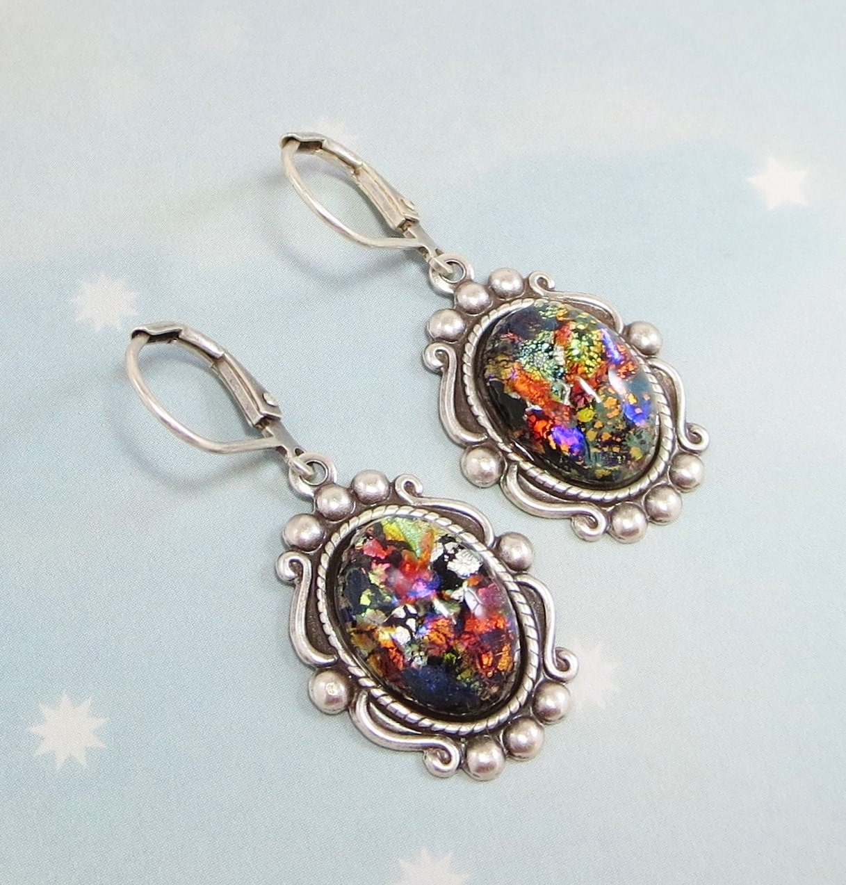 black opal earrings dangles black opal vintage