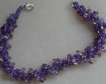 hand made purple Helix czech glass dagger beaded bracelet