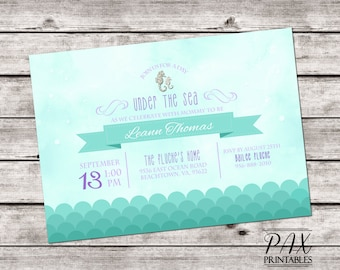 Baby Shower Under the Sea Invitation - Printable Ocean Invites, Baby Shower, Birthday Party - ANY EVENT
