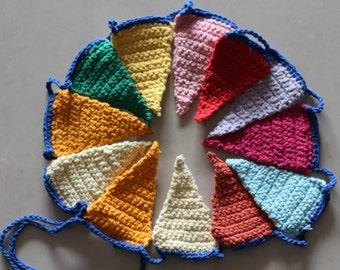 Garland Flag Crochet . Nursery Decor. Wall hanging decoration.