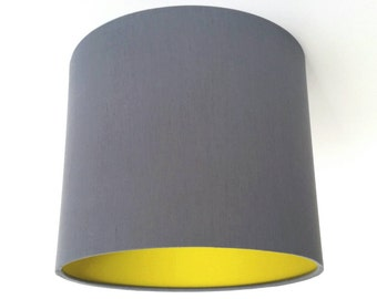 Charcoal & Acid Yellow Fabric Lampshade