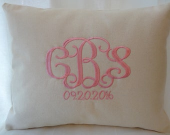 Personalized Baby Girl Gift - Monogrammed Baby Girl  Gift - Pillow - Birth Date Keepsake - Baby Girl Nursery
