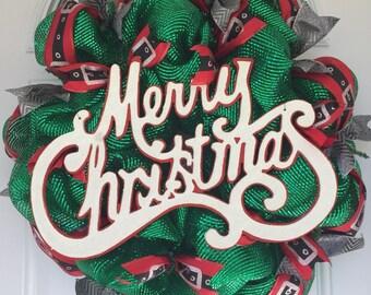 MERRY CHRISTMAS! | XL Mesh Wreath