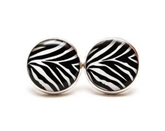Zebra Stud Earrings Black and White Earrings Zebra Jewellery Black White Jewelry Resin Round Post
