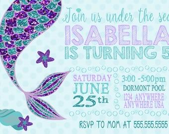 mermaid birthday party invitations with printable, invitation samples