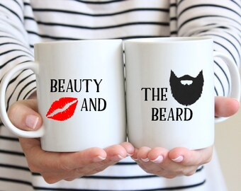 Beauty and the Beard Mugs, Beauty Coffee Cup, Beard Gift, Beard Coffee Cup, Beauty and the Beard Gift, Couples Gift, RyElle, Coffee Cups