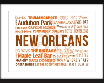 A Celebration of New Orleans Unframed Typography Print