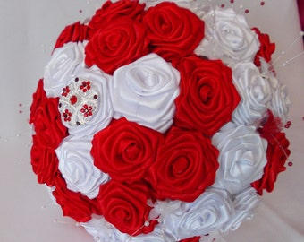 wedding bridal bouquet,red and white handcrafted roses with brooches,satin,ribbon,diamante