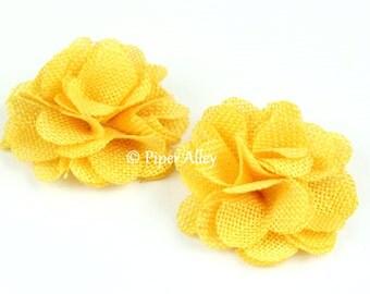 "Maize Yellow, Burlap Flower,  Rustic Small Flower, 2.5"" Bridal Rosette, Rustic Wedding Flower, DIY Headband Bow Craft Supplies"