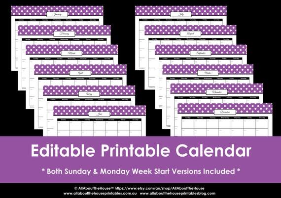 Editable Meal Planner Calendar : Editable polka dot calendars you choose  etc