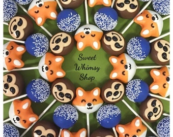 24 Fox, Sloth, & Sprinkle Cake Pops for zoo birthday, kawaii, Zootopia party, hipster wedding, groom's cake, Wild Kratts, jungle, shower